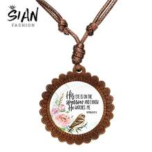 SIAN 2019 New Bible Verse Wood Necklace Bird and Flower Art Picture Glass Dome Pendant Scripture Jewelry for Christian Holy Gift(China)