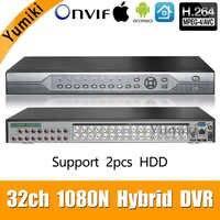 32ch 1080N DVR 5 en 1 Coaxial CVI TVI AHD sistemas de grabadora de vídeo de vigilancia híbrido NVR para AHD 8CH IP soporte 2 piezas HDD vmeyesuper de