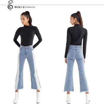 Side Stripe jeans woman streetwear street style flare pants denim Tassel Bleached Panelled Spliced Mid waist Cotton 2020new