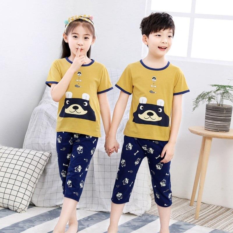 Sommer Kinder Pyjamas Kinder Kurzarm Nachtwäsche Jungen Cartoon Pyjamas Kinder Pyjamas Für Mädchen Baby Pijamas Kind Kleidung Sets