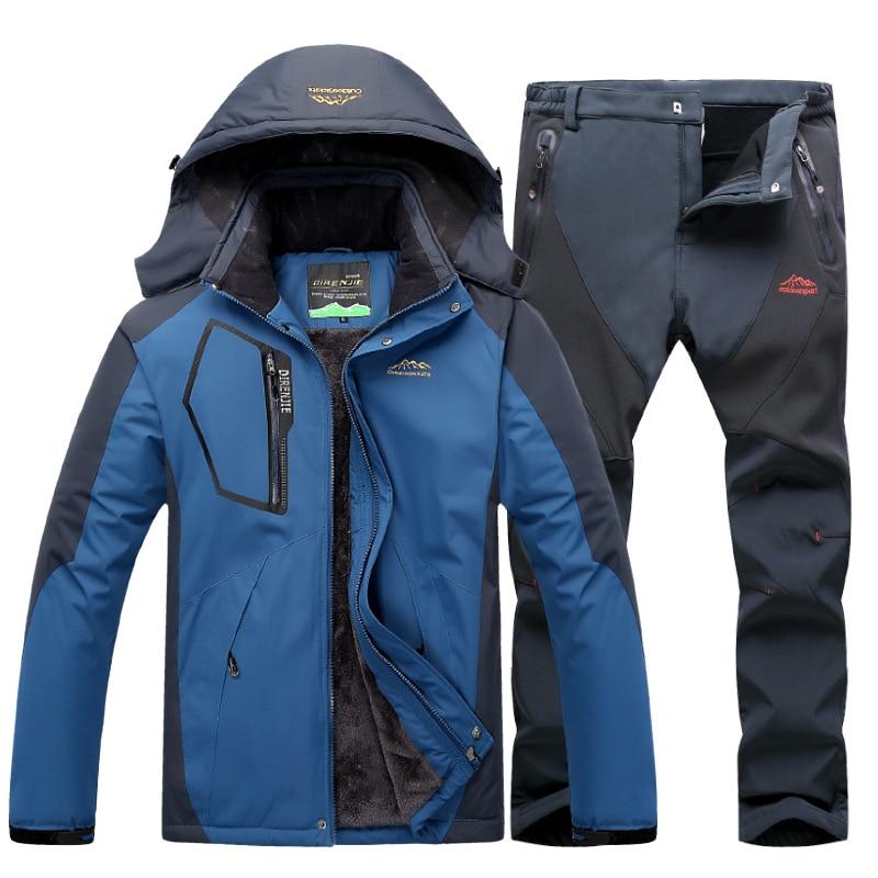 Winter Ski Suit for Men Fleece Warm Windproof Waterproof Skiing Suits Snowboarding Set Outdoor Ski jacket