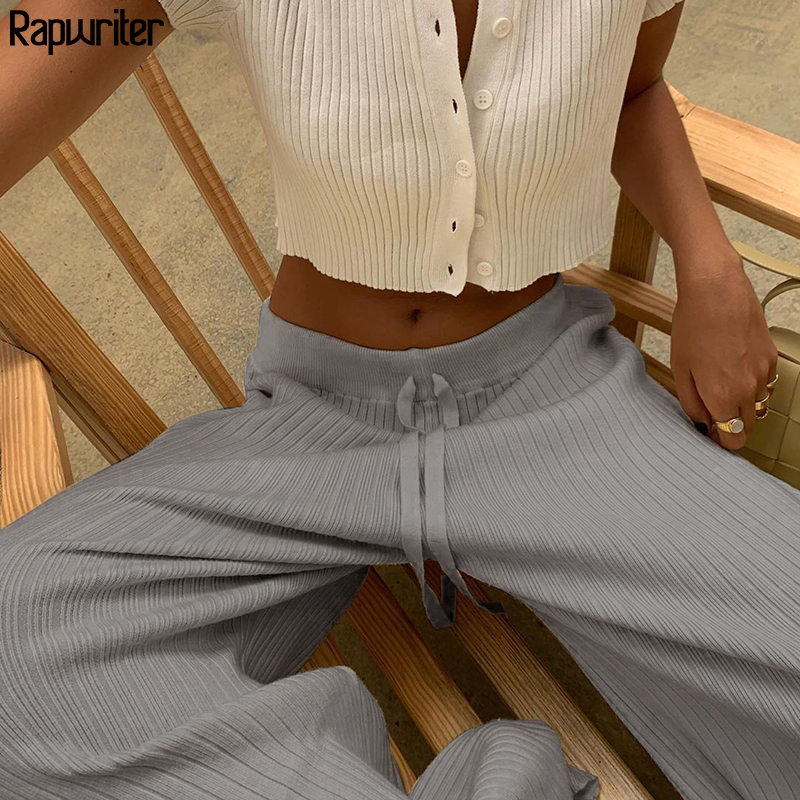 Casual Solid Knitted Loose Drawstring Wide Pants Women 2020 Autumn High Waist Straight Trousers Long y2k Pant Capris Streetwear