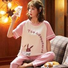 Весна с коротким рукавом пижамы костюм женщин модальные прекрасная домашняя одежда для женщин o-образным вырезом повседневная Lounge одежда пижама девочки пижамы