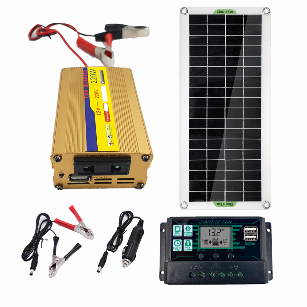 sistema de energia solar 220v 30w 60a controlador painel solar carregador de bateria 220w inversor usb