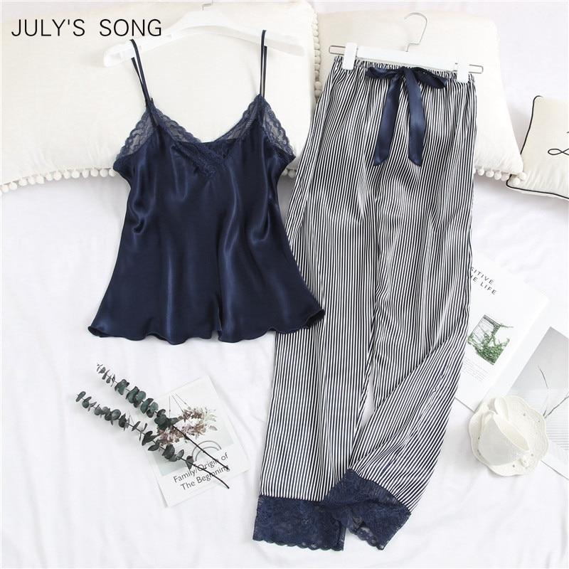 JULY'S SONG 2 Piece Woman Pajamas Set Sling Stain Long Pants Silk Sexy Sleepwear Woman Pink Top Strap Sling Summer Pyjama