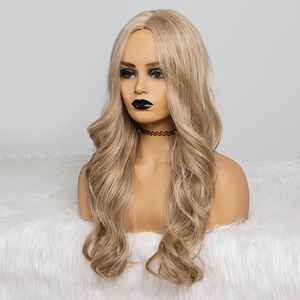 Image 3 - Long Wavy Hairstyle Synthetic Wigs Middle Part Blonde Natural Hair Wigs For Afro Women Cosplay Wigs Heat Resistant Fiber