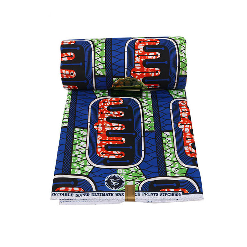 100% Polyester Blue, Red And Green Pattern Printed Fabric African Ankara Veritable Ultimate Wax Printed Fabric 6Yards