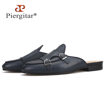 Piergitar handmade cow leather men's slippers with metal decoration fashion party men mules male smoking plus size - sale item Men's Shoes