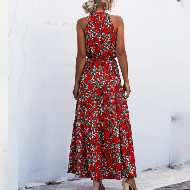 Summer Elegant  beach Women Dress  2020 long Print Flowers Polka-dot strap Ladies Halter boho Dress Vintage party ladies Dress 5