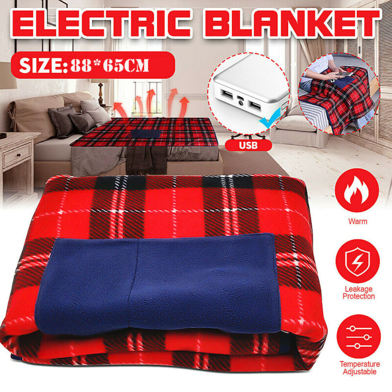Electric Heated Winter Warm Blanket Cover Car Office Use Heater 5V USB Portable