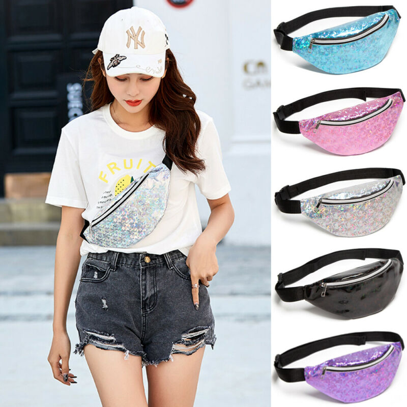 Hot Women Waist Packs Girl Floral Glitter Holiday Belt Wallet Bum Travel Bag Pouch Laser Glass Floral Waist Chest Bag
