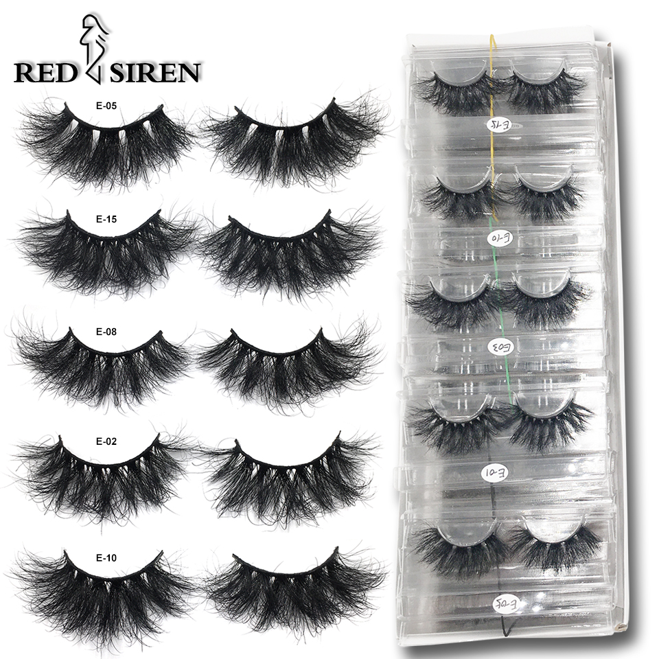 RED SIREN Mink Lashes Wholesale 25mm Lashes Dramatic Fluffy Long Lashes in Bulk Makeup Lashes Mink 25mm Wholesale Mink Eyelashes 1