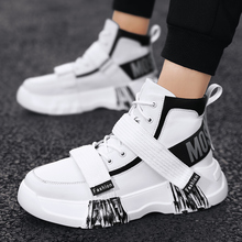 Autumn Leather Sneakers For Men Thick Soled Young Casual Men Footwear High Top C
