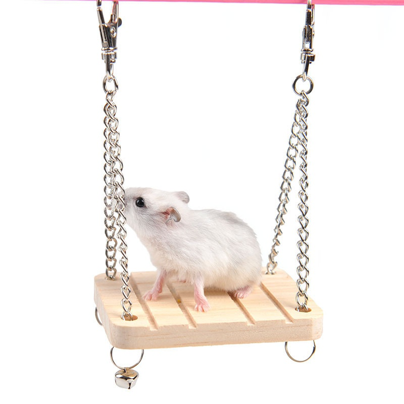 Wooden Hanging Swing Fun Toy For Pet Hamster Mouse Gerbil Rat Small Parrot Bird Hamster Accessories Littlest Pet Hamster Toy