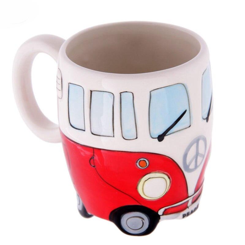 Household Portable Creative Vintage Hand Drawn Cartoon Cute Bus Ceramic Coffee  Mugs Room Decoration