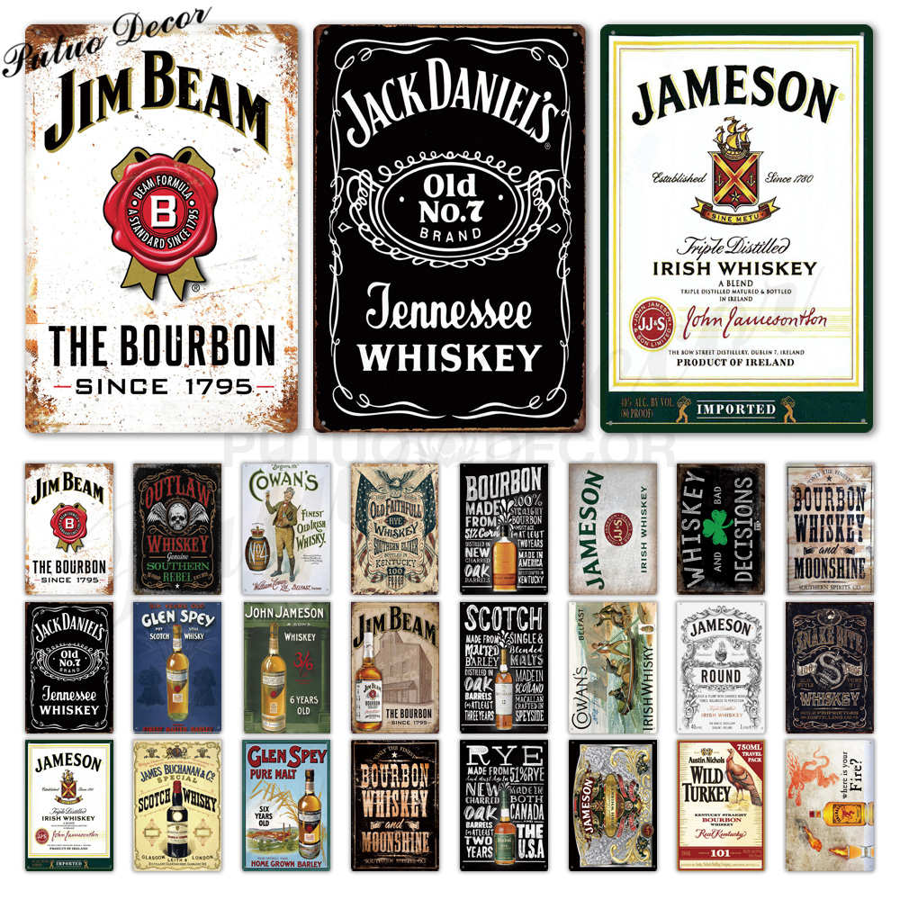 Whiskey Vintage Metal Sign Tin Sign Plaque Metal Vintage Retro Wall Decor For Bar Pub Club Man Cave Metal Signs Poster