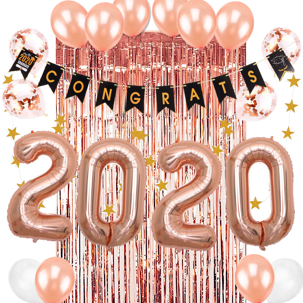 2020 Graduation Party Supplies.Us 12 39 21 Off 11pc Rose Gold 2020 Graduation Party Supplies Fringe Tinsel Curtain Congrats Banner Class Of 2020 Foil Balloons Latex Ballons In