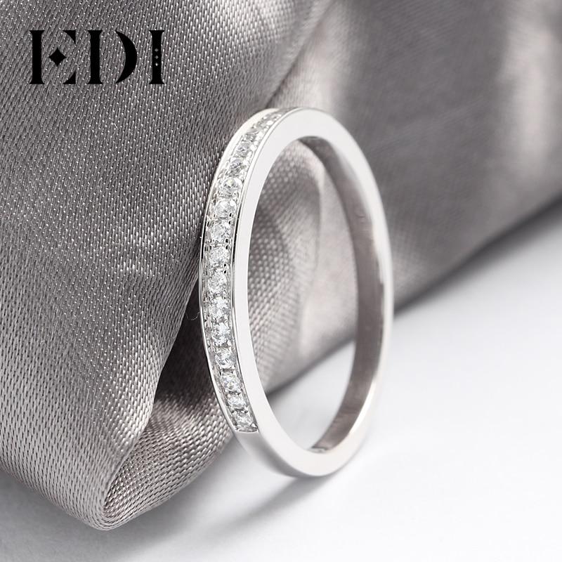 Set de anillos de oro blanco de 9K para mujer, anillo de compromiso de señora, pavé, Joyería de diamantes simulada, bandas de boda a juego (SNR 116)-in Anillos from Joyería y accesorios    2