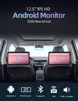 12.5 inch Android 9 Car Headrest Monitor 1920*1280 video IPS Touch Screen GPS 4G WIFI/Bluetooth/USB/FM MP5 Video DC Player