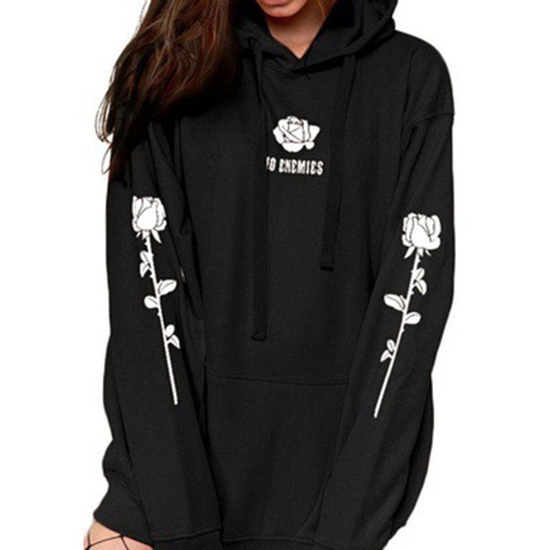 Gothic Harajuku Women Winter Oversize Hoodies Punk Motorcycle Dark Black Print Streetwear Hooded Tops Pullover Plus Size 4XL 5XL