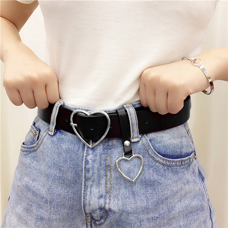 2020 105cm Fashion Women PU Leather Belt Female Cute Black Harajuku Belt Ladies Pants Party Dress Heart Belts For Girl Jeans