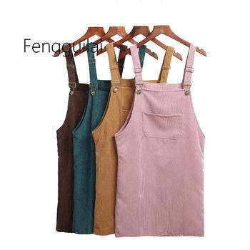 Summer Women Skirts 2020 Casual Corduroy Suspender Overall Vest Jumpsuit Braces Skirt Lady Preppy Style Skirt School sweet style solid color button embellished women s suspender skirt