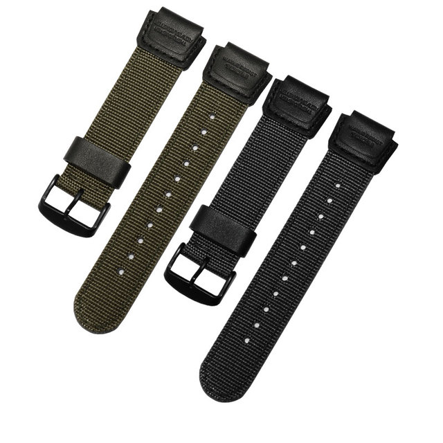 PEIYI Nylon strap black army green wristband Replacement belt for  Mens watch sport  AE 1200WH/SGW 300H/400/AQ S810W