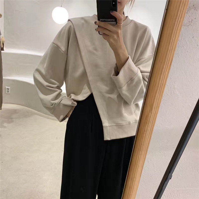 Alien Kitty Solid Chic Loose O-Neck Pullover Soft 2020 Fashion Cross High Quality Oversize Warm Casual Women Female Sweatshirt
