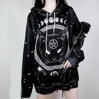 2019 Gothic herbst sweatshirt weibliche kpop lose große größe weibliche lange hülse hoody winter schwarze katze halloween hoodies kleidung