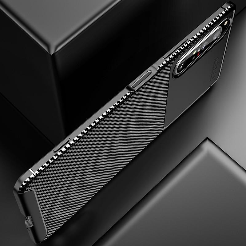 Silicone Protective Phone Case For Sony Xperia 5 II Carbon Fiber Soft TPU Cover Case For Sony Xperia 10 II 1 II Xperia 20 5 8 (5)