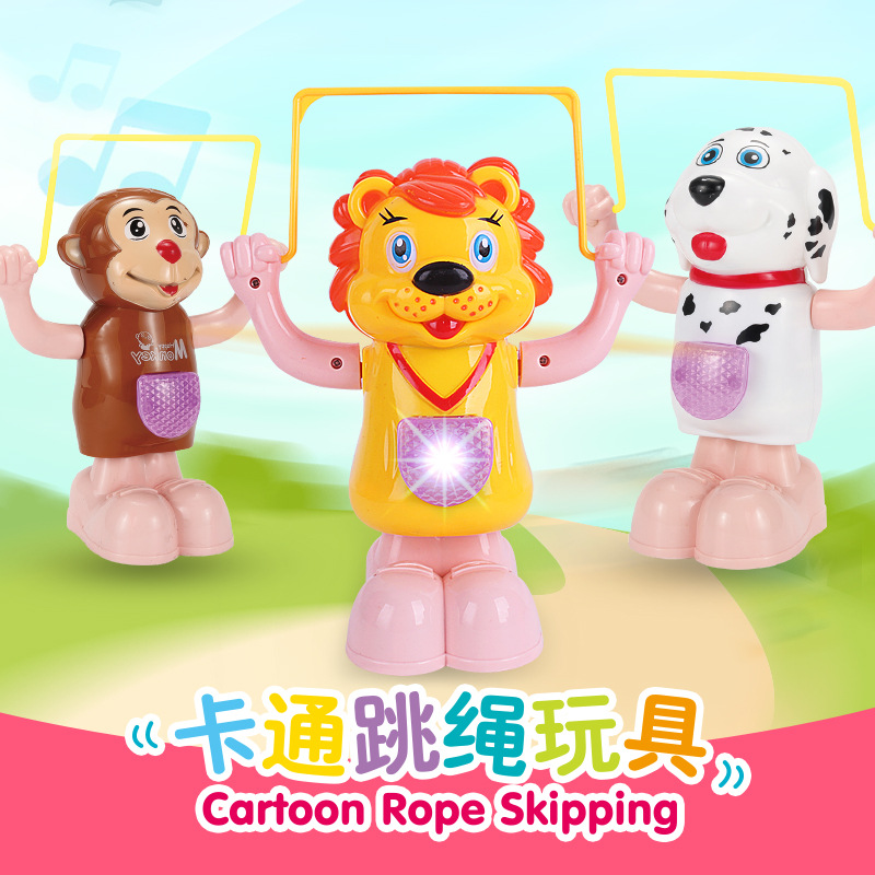 Creative Electric Rope Skipping Cartoon Animal With Music And Lighting Electric Toys For Somersault