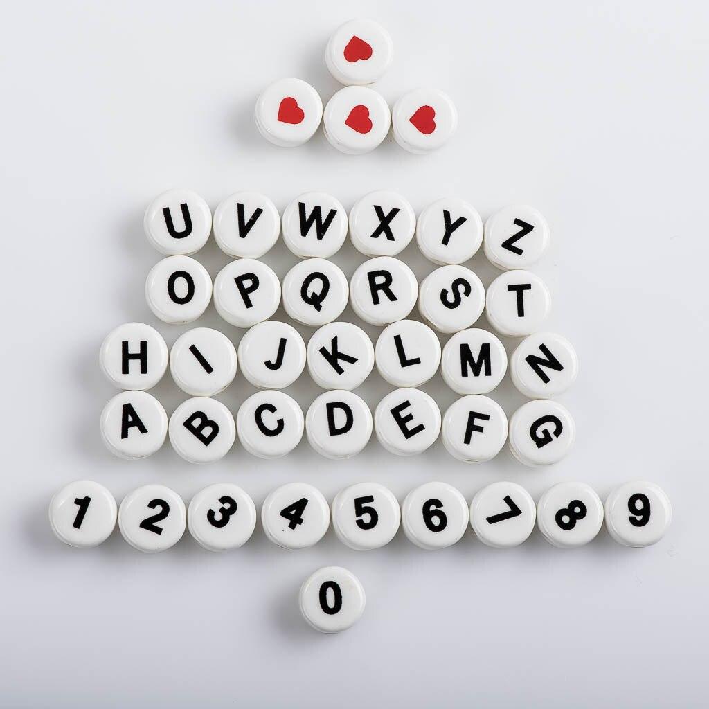 11 #1 adet sayılar ve harfler yuvarlak şekilli seramik boncuk silindirik aşk boncuk takı yapımı için malzemeleri # XN043