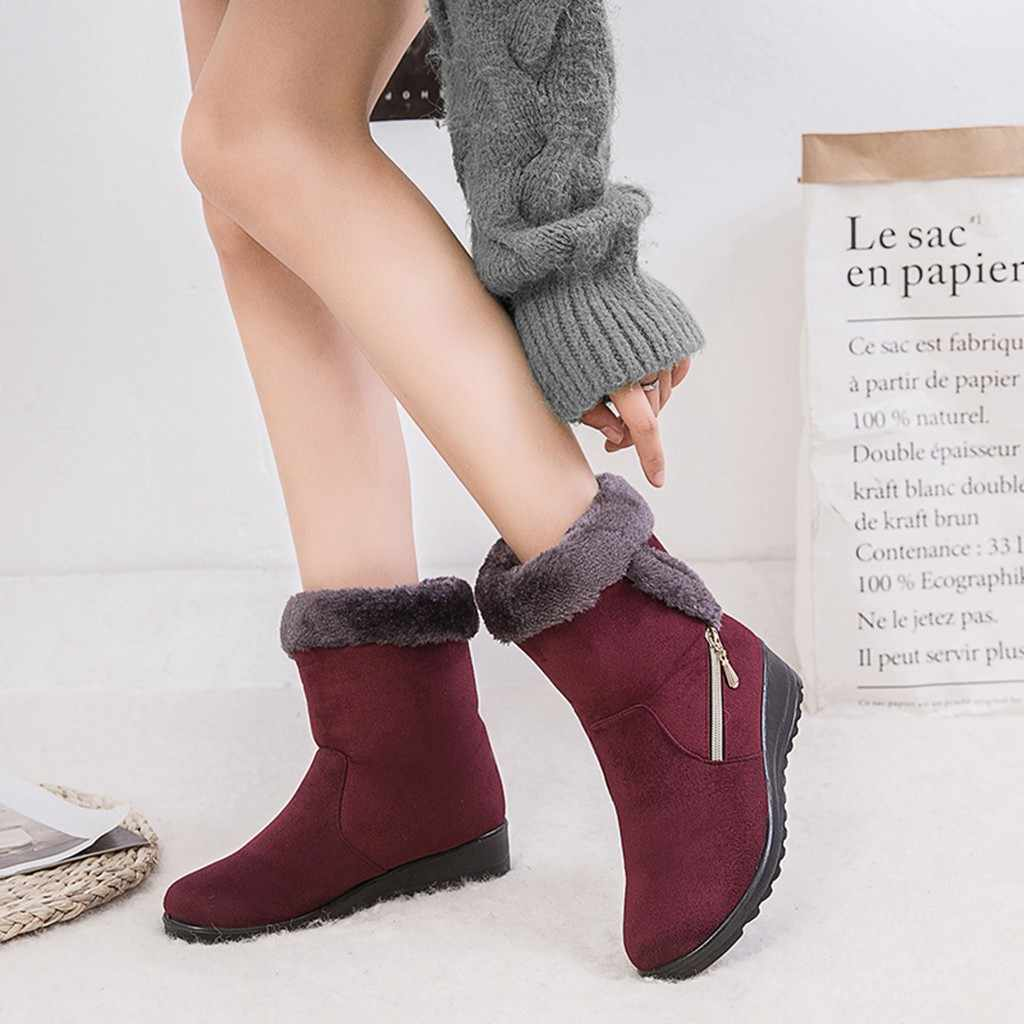 New Winter Ankle Boots Women Platform Faux Fur Waterproof Anti Slip Short Booties Ladies Casual Warm Snow Shoes Footwear #816