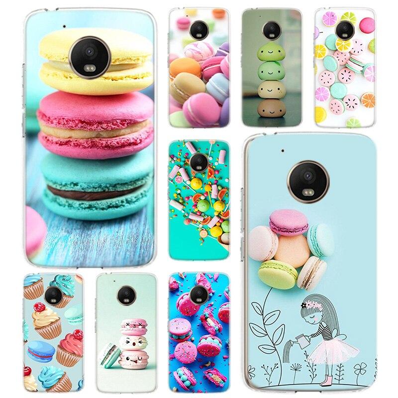 Dessert Ice Cream Macaron Silicone Soft Case For Motorola Moto G8 G7 Power G6 G5 G5S E4 E5 Plus G4 Play Cover Coque