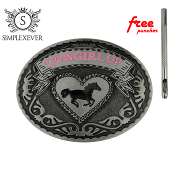 Cowgirl UP Fashion Belt Buckle for Men Horse Oval Silver with Leather Drop Shipping