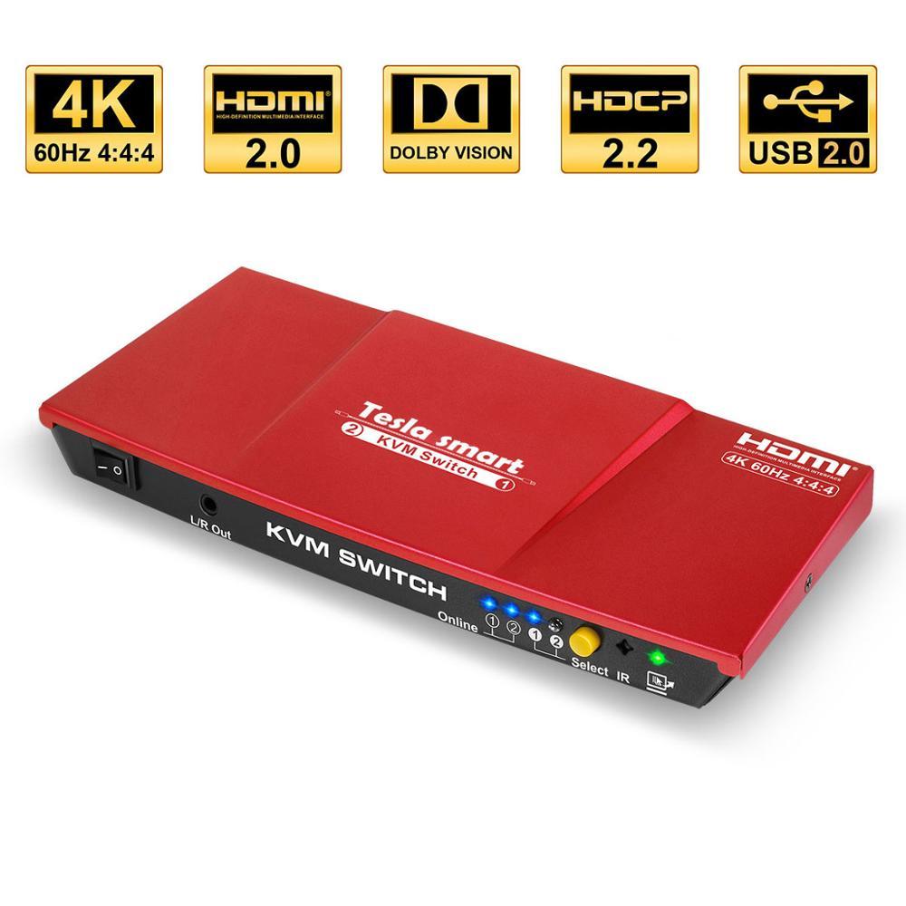Tesla Smart High Quality HDMI 4K@60Hz HDMI KVM Switch 2 Port USB KVM HDMI Switch Support 3840*2160/4K*2K Extra USB2.0 Port Red