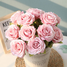Spot supply explosion 6 color 12 head sawtooth small fresh bunch of roses Wedding flower wall decoration simulation fake