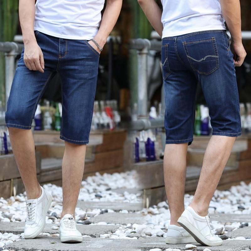 Men Summer Thin Section Elasticity Straight-Cut Casual Short Denim Shorts BOY'S 5 Pants Breeches Fashion