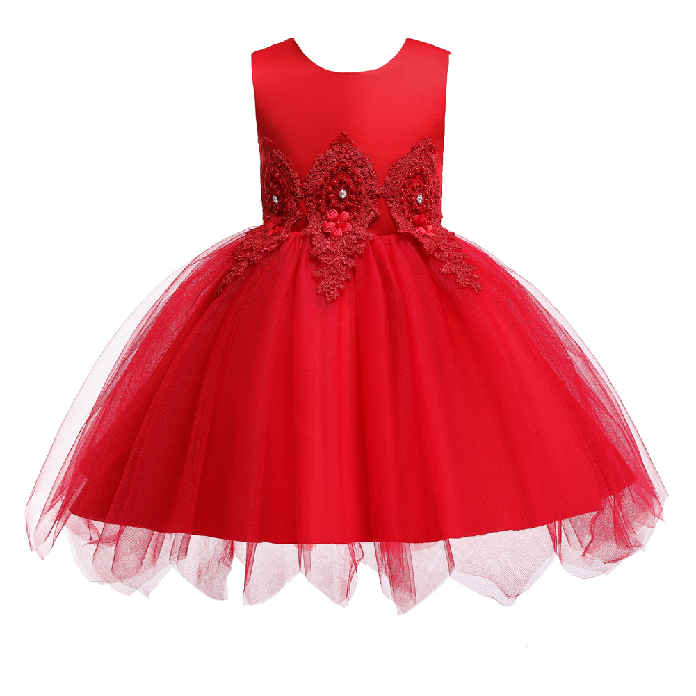 2019 New Style AliExpress CHILDREN'S Dress Short Irregular Tutu Children Dress Diamond Set Flower CHILDREN'S Dress