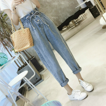 Summer Autumn Women Washed High Waist Casual Denim Pants Loose Straight Boyfriend Jeans For Woman Jean Plus Size 5XL 2019 autumn new loose cotton bomb fashion trend wild high waist jeans woman multi pocket zipper hole straight denim pants women