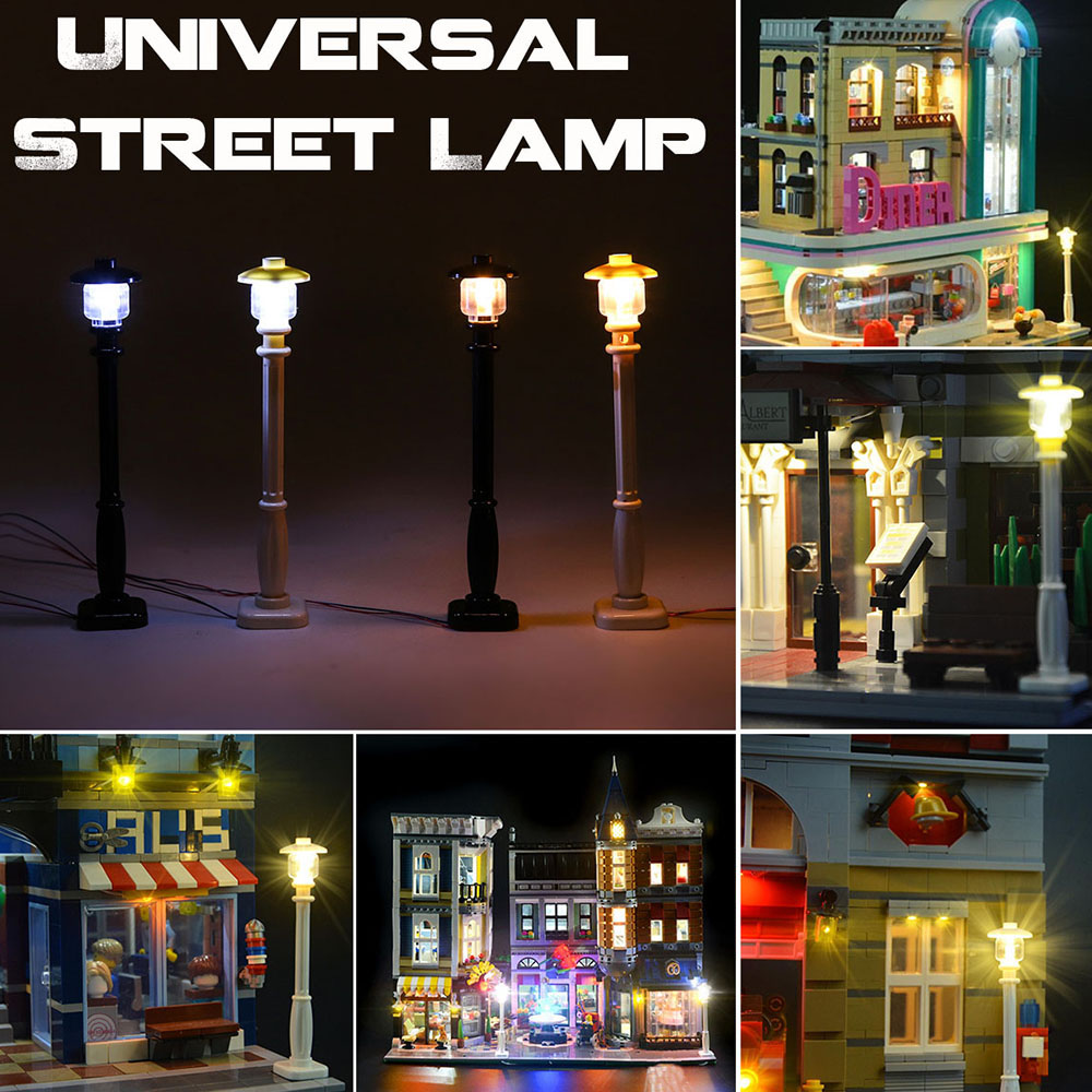 LED Street Light Lego Building Block Bricks City Street Lamp Street View Lego Pin Creator House DIY Toys Children Construction
