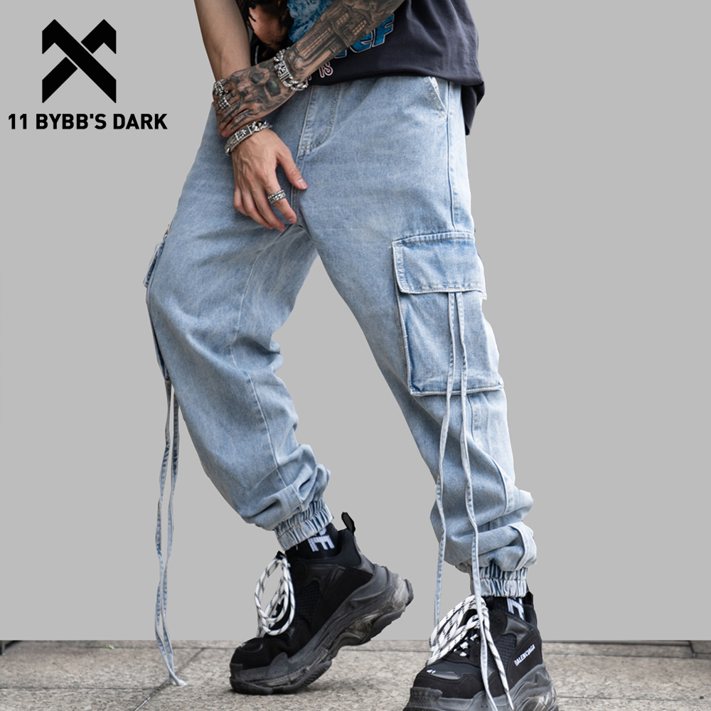 11 BYBB'S DARK Pockets Joggers Men 2019 Spring Summer Loose Jeans Straight Harem Joggers Denim Jean Casual PantsTrousers