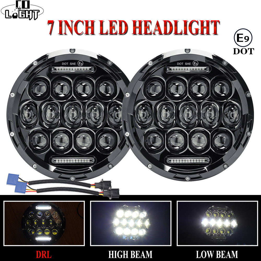 CO LIGHT Car LED 7 Inch Round Headlight 75W 35W DRL Hi/Lo for Jeep Wrangler Hummer Lada Niva 4x4 Led Driving Light 12V 24V