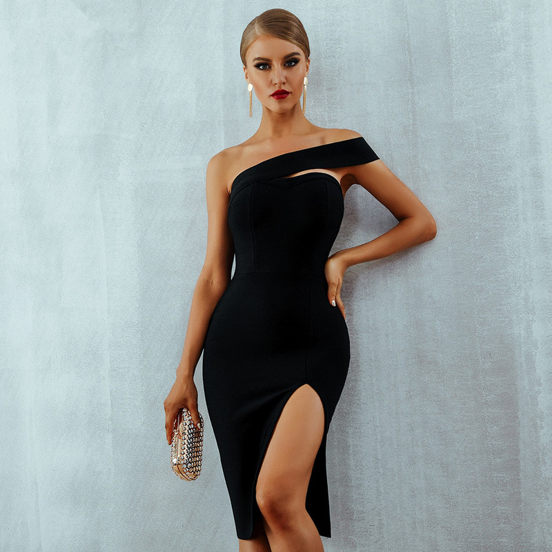 2020 Summer Sexy Elegant Black One Shoulder Prom Dress White Bodycon Bandage Dress Vestidos Midi Celebrity Runway Party Dresses