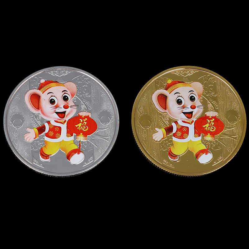 2020 Rat Moneta Commemorativa Anno di Ratto Consegnare Denaro Monete CollectionNew Nuovo Anno del Regalo Placcato Oro di Buona Fortuna A Casa Auto decor
