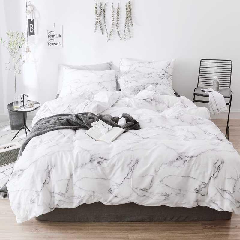 Ensemble de literie à motifs en marbre housse de couette taie d'oreiller 3 pièces ensemble lit simple lit King coton housse de couette (pas de draps ne sont pas Fille