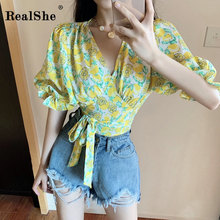 RealShe Blouse Women V-Neck Half Lantern Sleeve Bow Bandage Floral Print Chiffon Elegant Loose Woman Shirts Casual