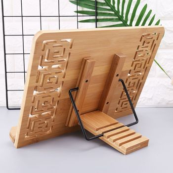 Bamboo Hollow Adjustable Reading Book Holder Tray Page Paper Clips Foldable Tablet Cookbook Portable Sturdy Bookstand tehmoda очки tm0054 g 21 b bamboo page 9