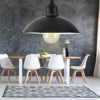 Metal Shade Solar Powered Pendant Light E27 Bulb Outdoor Hanging Shed Lamp For Home Garden With Bulb