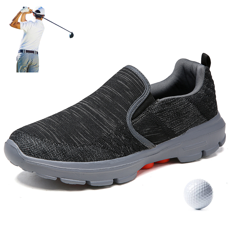 Mens Summer Golf Shoes Slip-On Outdoor Anti-Slippery Golfing Trainers Breathable Leisure Golfer Sneakers Lightweight Walking